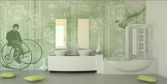 decoración papel pared verde